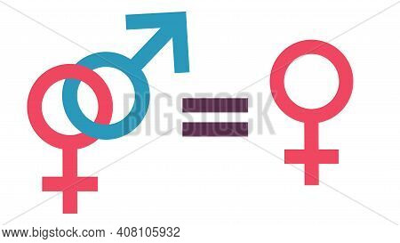 Equality Concept. Equality To Be One, Free Woman And Traditional Relationship. Equal Rights Concept.