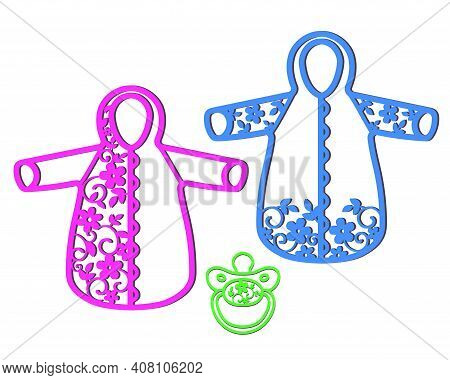 Stencil Of Baby Jumpsuit With Openwork Pattern For Cutting.