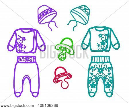 Openwork Stencils For Cutting Children's Clothing, Trousers, Blouses, Hats, Pacifiers.