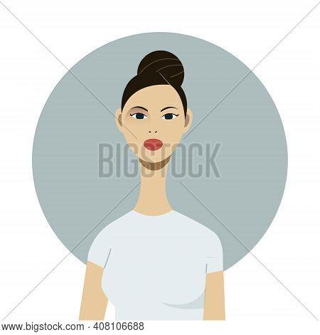 Beautiful Friendly Young Girl With Hair Bun, Dark Hair. Cartoon Style. Big Blue Eyes, Tanned Skin.