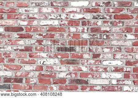 Beautiful Brick Background With Old Red Bricks And Bricks In White Paint And Brown Bricks