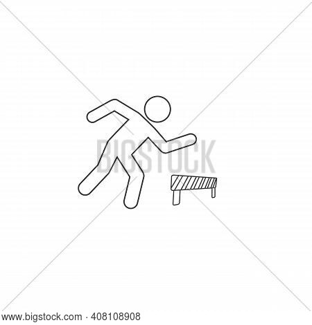 Athlete Running Hurdles Vector Line Icon Sign