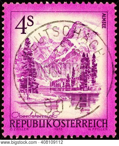 Moscow, Russia - February 12, 2021: Stamp Printed In Austria Shows Lake Almsee (alm) In Upper Austri