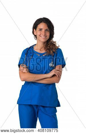 Portrait Of Happy Smiling Female Nurse In Blue Uniform With Stethoscope Isolated On White Background