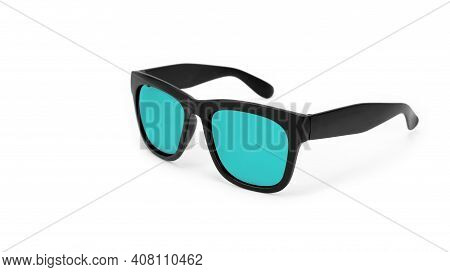 Clothes, Shoes And Accessories - Black Modern Sunglasses With Turquoise Lenses On A White Background
