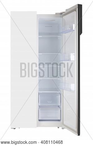 Major Appliance - Front View White One Open Door Two-door Side By Side Refrigerator Fridge On A Whit