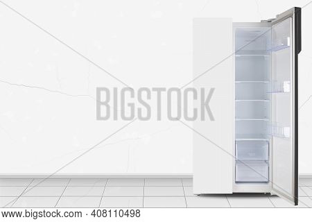 Major Appliance - Open Two-door Side By Side Refrigerator In Front On A White Wall Background
