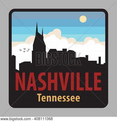Label Or Sign With Name Of Nashville, Tennessee, Usa, Vector Illustration
