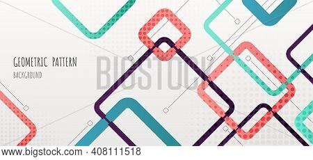 Abstract Geometric Pattern Design Of Square Elements Template Header. Overlapping Design With Halfto