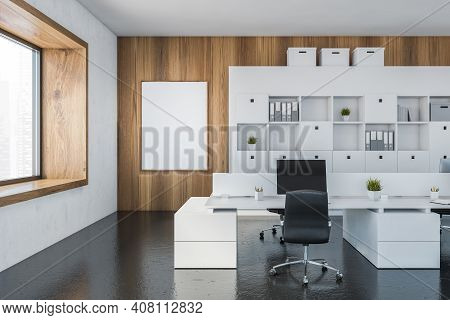Mockup Canvas Frame In White And Wooden Office Room With Armchairs And Computer On White Table Near