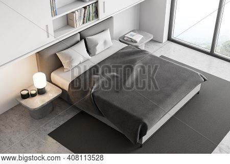 Top View Of White And Grey Bedroom With Bed And Linens On Carpet And Bookshelf, Near Window, From Ab