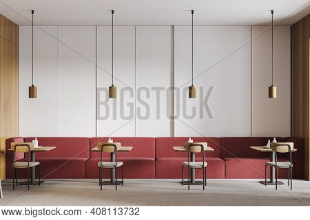 Wooden And Red Cafe With Chairs And Table, Red Sofa. Seats In Open Space Restaurant, Wooden Minimali