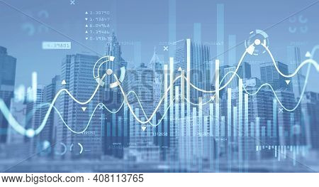 Financial Chart Over Panoramic New York City View. The Concept Of International Consulting At Nyc. H