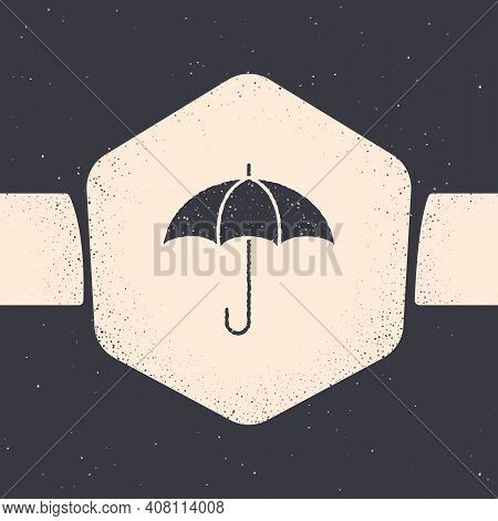 Grunge Umbrella Icon Isolated On Grey Background. Insurance Concept. Waterproof Icon. Protection, Sa