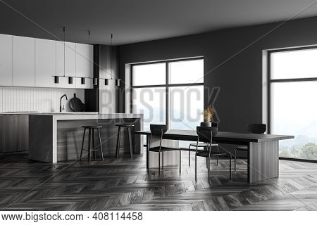 Dark Grey Kitchen Room With Kitchen Set On Black Parquet Floor. Eating Table With Chairs, Window Wit