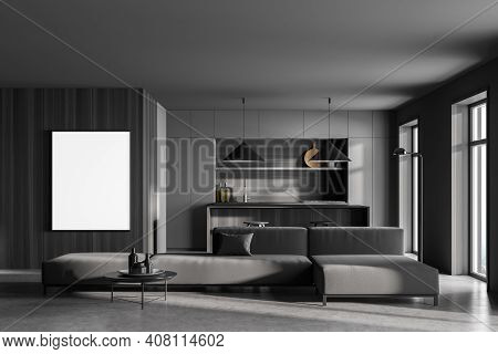 Mockup Canvas Frame In Grey Kitchen Room With Grey Sofa And Table With Bar Chairs, Marble Floor. Kit
