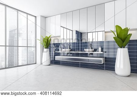 White And Blue Bathroom With Two Sinks And Plants In The Corner, Side View. Blue Stylish Washbasin W