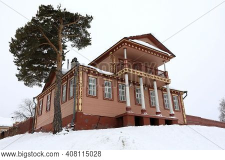 View Of Wooden House On Hill