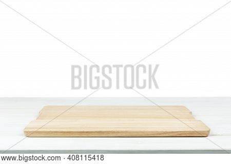 Cooking Template - Isolated Wooden White Table With Empty Cutting Board.