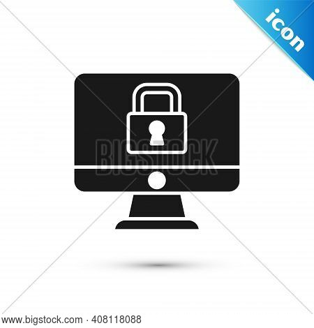 Grey Lock On Computer Monitor Screen Icon Isolated On White Background. Security, Safety, Protection