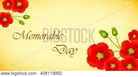 Retro Background With Poppy Flowers. Poppy Flowers Illustration For Memorial Day. Poppy For Armistic