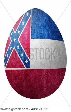 Mississippi State Flag Easter Egg, Mississippi Happy Easter, Clipping Path