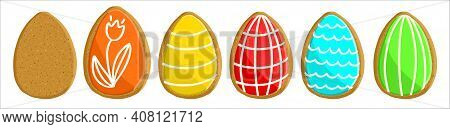 A Set Of Bright Gingerbread Cakes In The Shape Of Easter Eggs, With And Without Icing. Vector Illust
