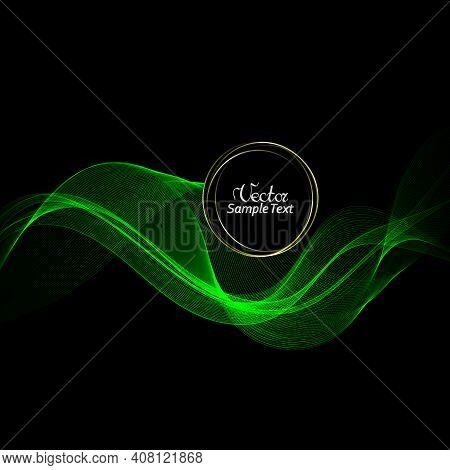 Abstract Contrast Green Wavy On Black Background. Vector Design