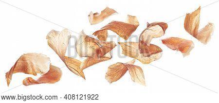 Falling Jamon Slices, Iberian Ham Isolated On White Background