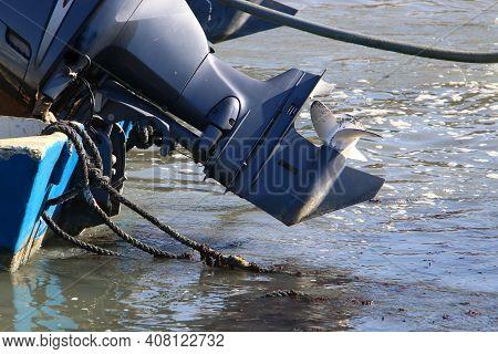 Outboard Motor Propeller. Boat In The Port Of Tel Aviv.