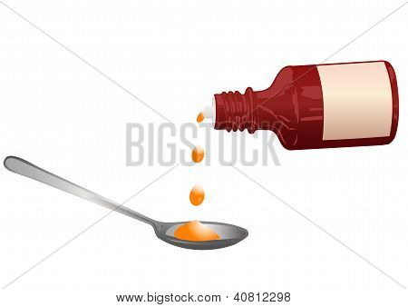 Vector Illustration A Bottle With A Medicine And A Spoon
