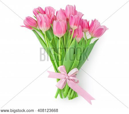 Pink Tulips Isolated On White Background. Spring Tulip  Flowers Bouquet With A Bow