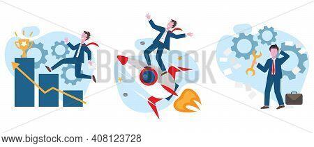 Success Achievement Flat Vector Concept Illustration. Career Development, Setting Goals, Career Prom
