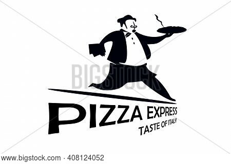 Pizza Express. Taste Of Italy. Baker In Uniform With Pizza. Logo For A Pizzeria. Black And White Gra