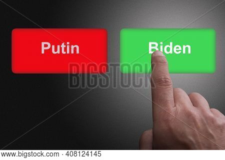 Red Button With Putin Writing And Green Button With Biden Writing Concept For Relations Between Unit