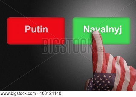 Red Button With Putin Writing And Green Button With Navalyj Writing With Hand Colored With American