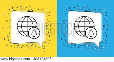 Set Line Earth Planet In Water Drop Icon Isolated On Yellow And Blue Background. World Globe. Saving
