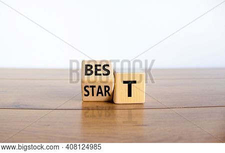 Time To Best Start Symbol. Turned A Wooden Cube With Words 'best Start'. Beautiful Wooden Table, Whi