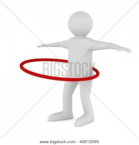 man and hula hoop on white background. Isolated 3D image