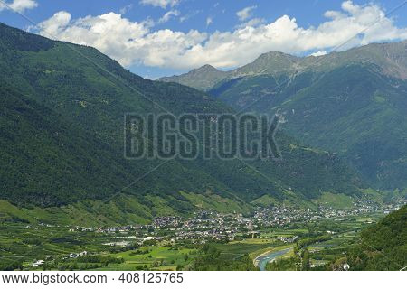 Mountain Landscape At Summer Along The Road Of Aprica Pass, In Sondrio Province, Lombardy, Italy