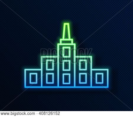 Glowing Neon Line City Landscape Icon Isolated On Blue Background. Metropolis Architecture Panoramic