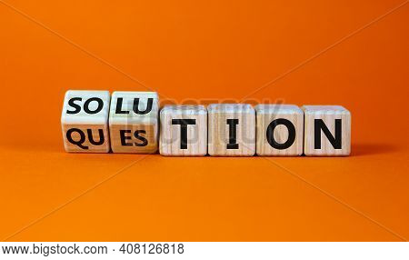 Question And Solution Symbol. Turned Wooden Cubes And Changed The Word 'question' To 'solution'. Bea