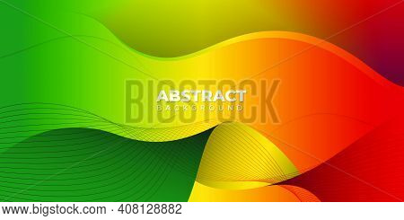 Red Yellow Green Abstract Background. Good Template For Independence Day Background Design.