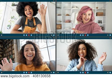Four Happy Multicultural Diverse Friends Young Women Talking During Online Virtual Chat Video Call I