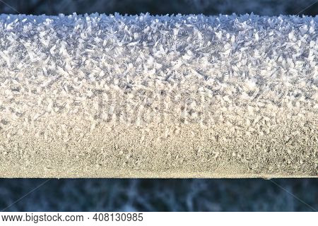 Beautiful Close-up View Of Frost Texture On The Tube Of Bike Parking Rack In Ticknock National Fores