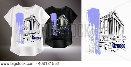 Fashionable Print For A T-shirt. Vector Illustration Of White And Black Womens T-shirts. Isolated Im