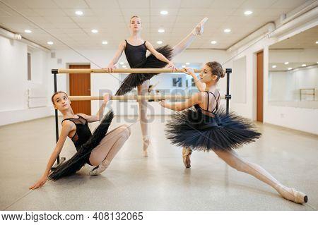 Elegant teen ballerinas poses at barre in class