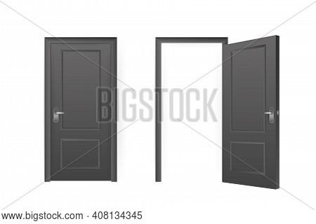 Realistic Door For Decorative Design. Furniture Vector Illustration Set. Office Furniture. Realistic