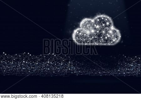 Low Poly Cloud Symbol Hologram And Digital Line On Dark Blue Background. The Concept Of Saving Ideas