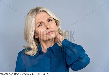 Tired Sick Older Middle Aged 50s Business Woman Rubbing Neck Feeling Discomfort Neck Pain Isolated O